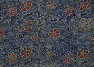 Ajrakh woodblock printed fabric from Bhuj India. The Khatri family is now 10th generation of Ajrakh printers.