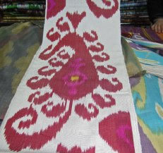 Ikat handwoven pattern adapted from a Paisley design.