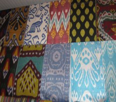 Contemporary ikats for sale at a local market.