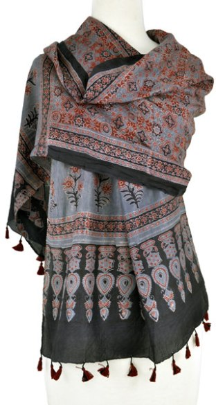 Ajrakh block printed wrap naturally dyed with alizarin madder and indigo from the Khatri workshop.