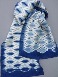 Shibori scarf blank with diamond design.