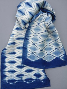 Shibori scarf blank with diamond design.