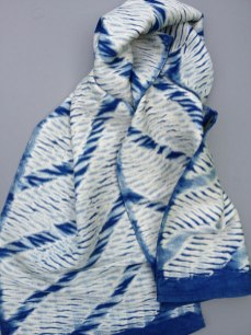 Shibori scarf blank with diagonal design.