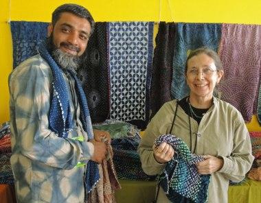 Artisan Aziz Khatri and Judy Frater among Aziz's lush bandhani scarves in 2015.