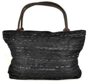 Faux ikat tote bag woven from recycled plastic.