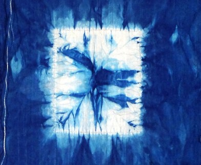 "Indigo resist sample by Judy Newland, ""Enter Through the Blue Door."""
