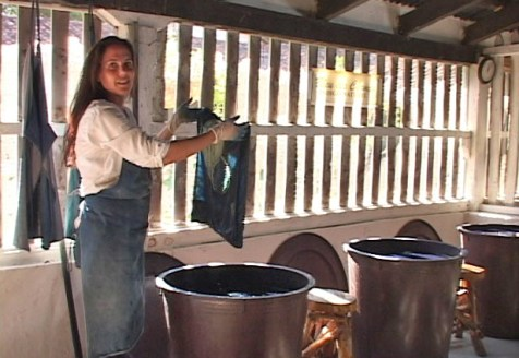 Grace Guirola working in the dye house. Photo courtesy Mary Lance.