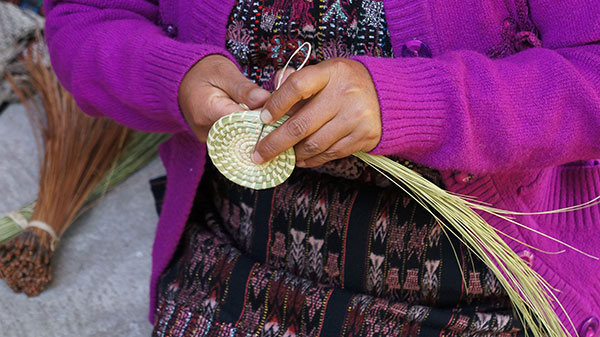 Wild grass is coiled and stitched with raffia.