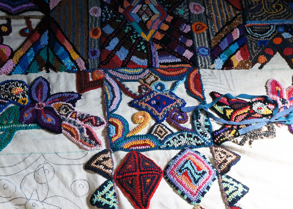 Another view of Glendy's in-process rug.