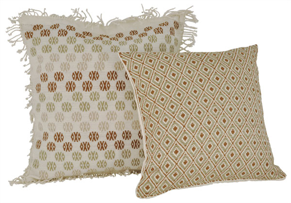 ProTeje pillows , woven in naturally colored cotton, showcase beautifully together.