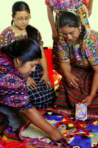 Community classes--Reyna Pretzantzin with teacher Yolanda Calgua.