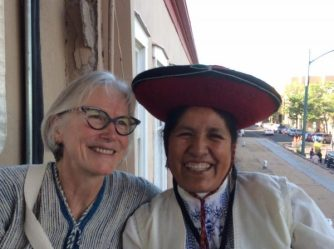 Marilyn Murphy and Nilda Callanaupa of the Center for Traditional Textiles of Cusco.