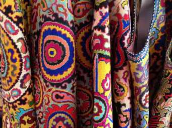 Textiles in the marketplace. Photo credit Adrienne Sloan.