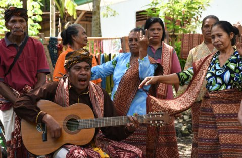 Our greeting of song and dance by the Helong tribe in in west Timor.