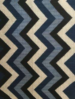 Indigo blue zigzag tapestry woven rug from Laos.