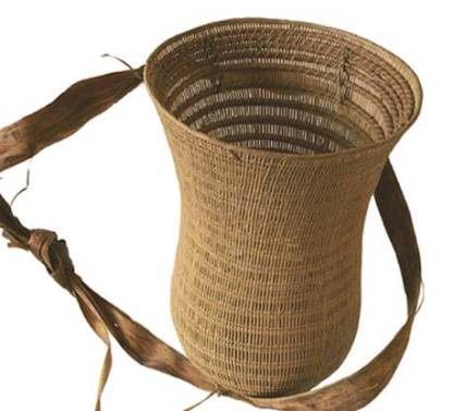 The standard burden basket. Note the hourglass shape, carrying strap, and reinforced structure. Photo credit: Nick Day.