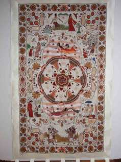 A finished nakshi kantha wall hanging. Photo courtesy of Kantha Productions LLC, kanthathreads.com