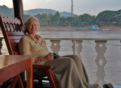 Here I am--a late afternoon boat ride on the Mekong River.