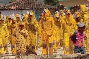 "The ""jaguars"" of Suchiapa dressed in pre-Columbian Aztec military uniforms."