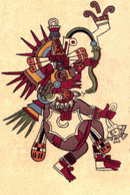 The Aztecs Quetzalcoatl appears in the Codex Borbonicus.