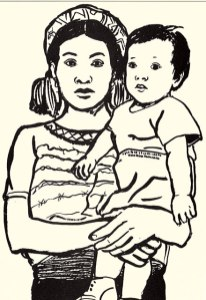 Maya Awakateka mother with her son; from the card set.