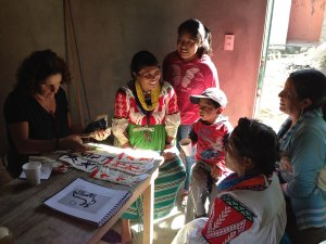 Ana Paula Fuentes working with artisans. Photo courtesy Ana Paula Fuentes.