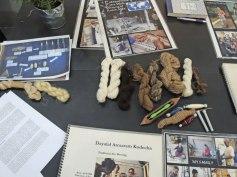 Dayalal Kudecha's shows us his weaving tools, yarns, and his process.