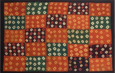 A fine tie-and-dye resist, four-selvaged Peruvian cloth.