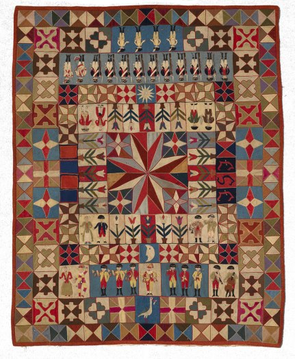 Intarsia Quilt with Soldiers and Musicians. Wool, with embroidery thread; hand-appliquéd and hand-embroidered. Prussia, c. 1760–1780. Photos courtesy of