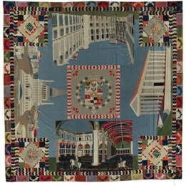 Holy Roman Empire Intarsia Quilt. Wool, with embroidery thread; hand-appliquéd and hand-embroidered. Austria or Prussia, 1846–1851. All photos courtesy of the International Quilt Study Center & Museum University of Nebraska-Lincoln.