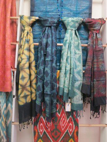 Silk scarves featuring Shibori (India) and Ikat (Uzbekistan)