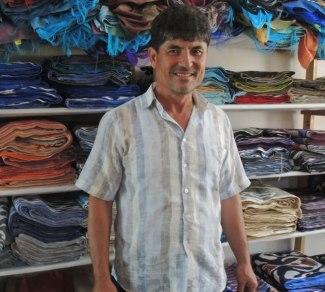 Fazlitdin Dadajanov in his workshop in Margilan.