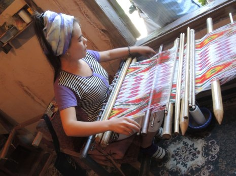 Weaving satin ikat the traditional way in Uzbekistan.