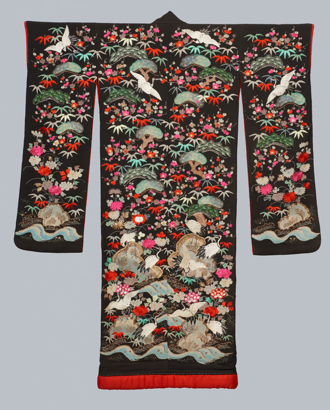 Wedding Robe; Uchikake, Japan, c. 1900. Silk; metallic threads. USC Pacific Asia Museum Collection. Gift of Mrs. Arnold J. Gordon.