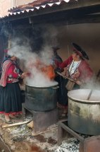 Chinchero weavers taking advantage of the dye for their colors too. (And a reward for all their efforts!)