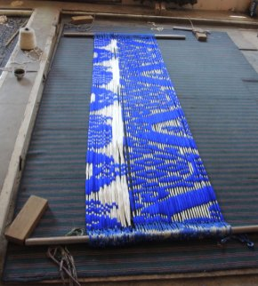 Ikat pattern bound and ready for dyeing.