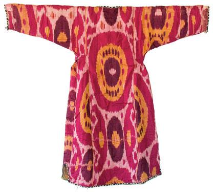 Munisak, woman's coat. Uzbekistan, Samarcande ; 19th century. Silk, warp ikat.