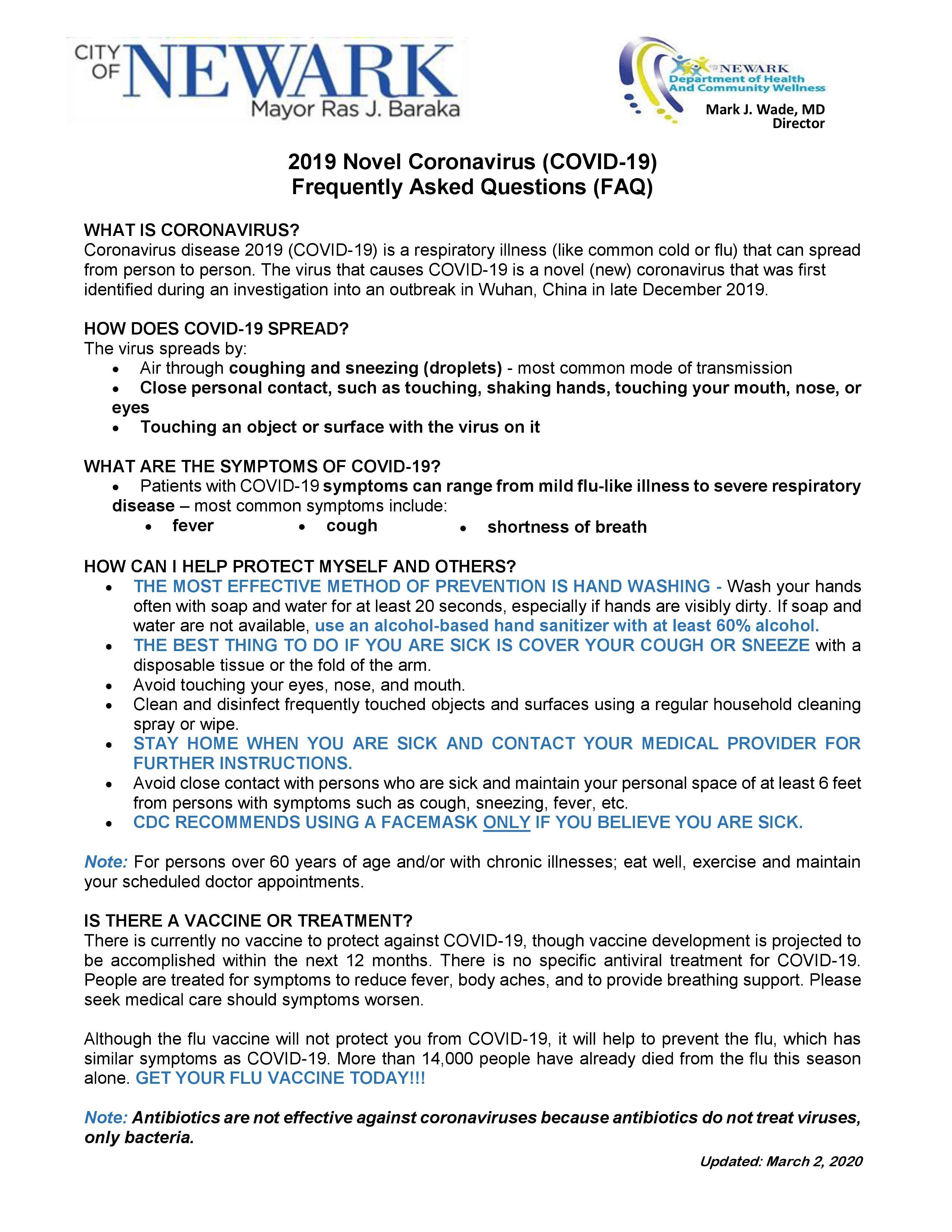 News: INFORMATION REGARDING COVID-19 (CORONAVIRUS)