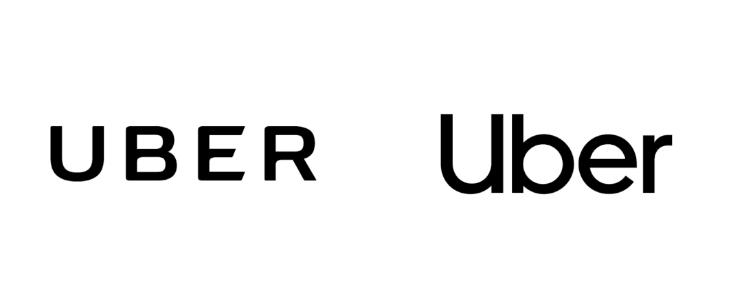 Uber's old hyper-masculine, squarish typeface logo in allcaps on the left and new, custom, sans-serif typeface in titlecase on the right.