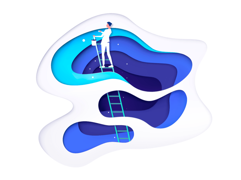 Illustration of a person on a ladder holding a bucket, framed by curvy layers of paper-cut-out-like blobs in blues and white.