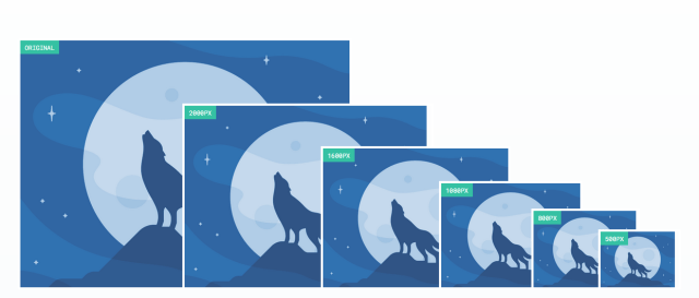 A blue monocrome image of a wolf howling at the moon. The image is scaled for 6 different screen sizes from the original size down to 500PX.