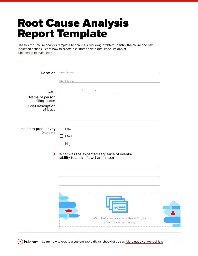 Root cause analysis is the process of tracing causes of an observable problem and identifying the basic underlying issue that was causing it. Root Cause Analysis Report Template Free Pdf Download Checklist