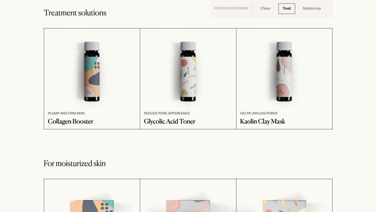 Skin Labs' ecommerce site uses a simple grid to clearly display their different products.