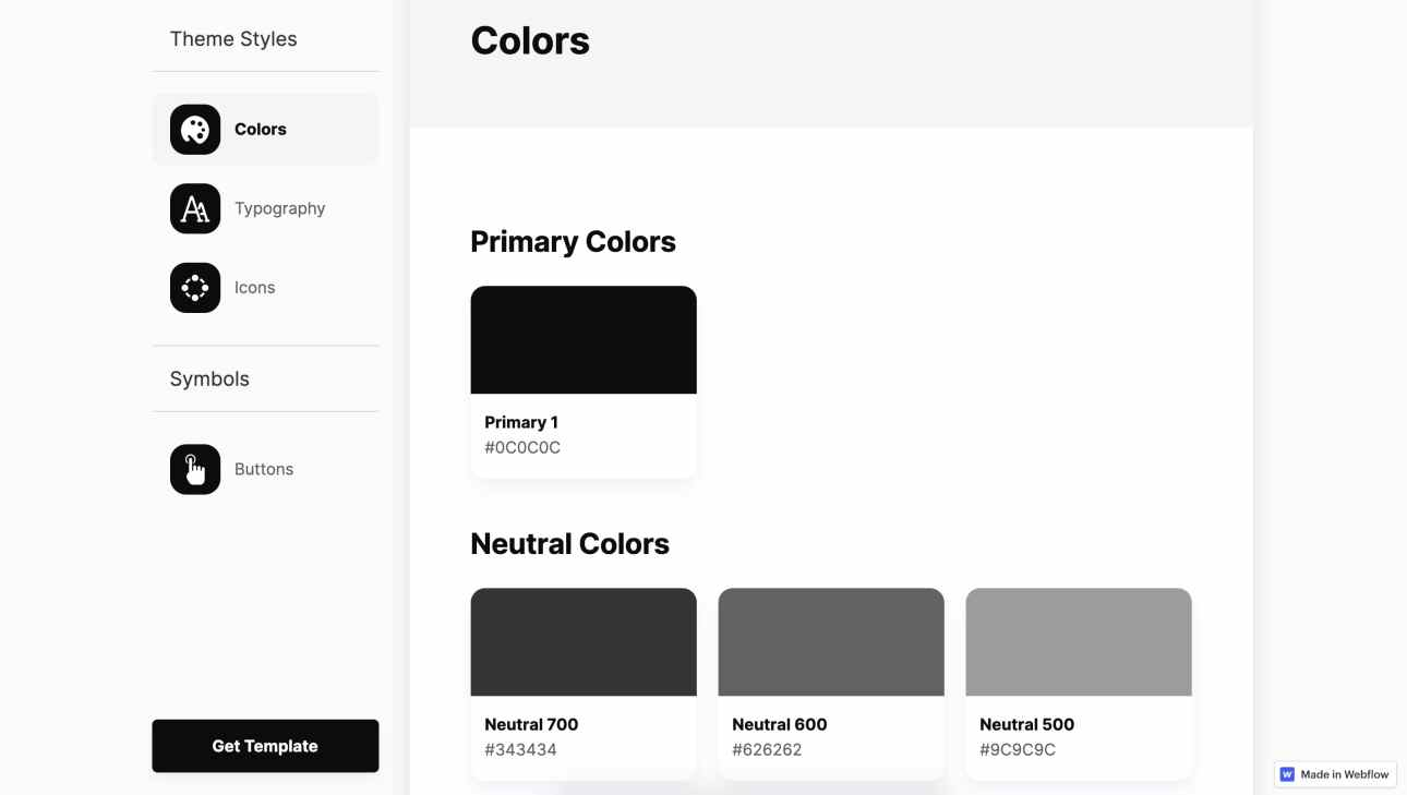 Saasly's style guide is made in Webflow and includes color swatches, typography, and icons.