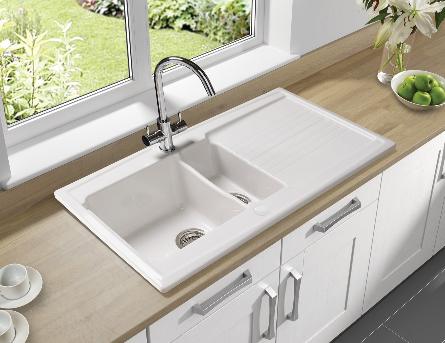 white kitchen sink photos of cabinets astracast equinox 1 5 bowl ceramic inset