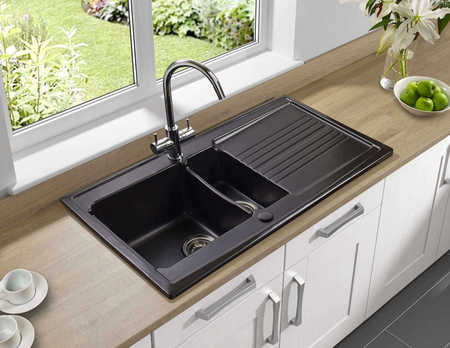 kitchen sinks with drainboards wall murals astracast equinox 1 5 bowl white ceramic inset