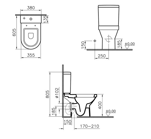 VitrA S50 Compact Close Coupled Open Back WC Pan And