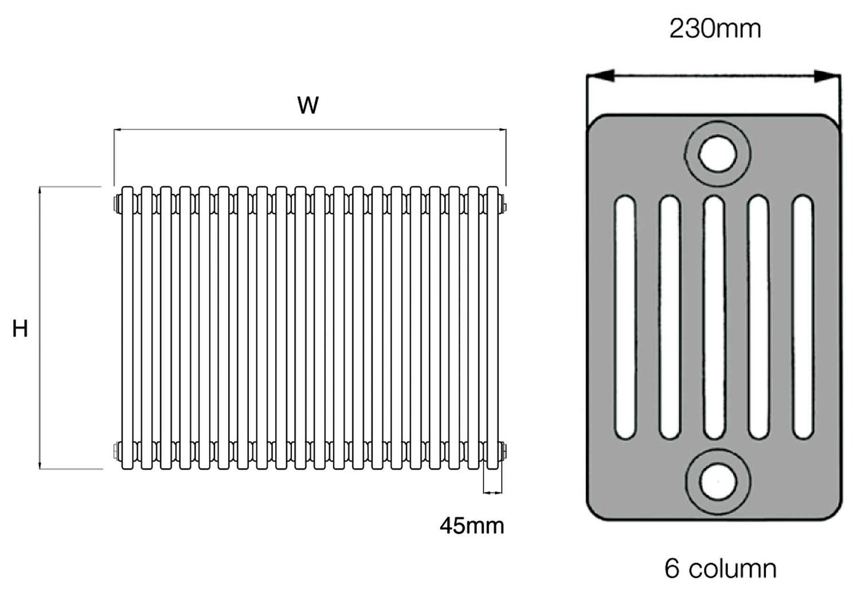 Dq Heating Peta White 6 Column Radiator