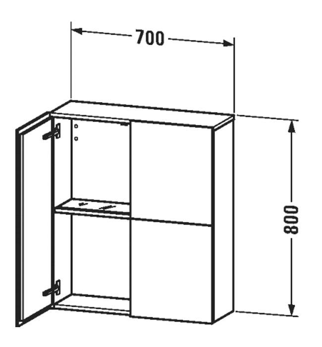 Duravit L Cube 700 x 243mm 2 Doors Semi Tall Cabinet