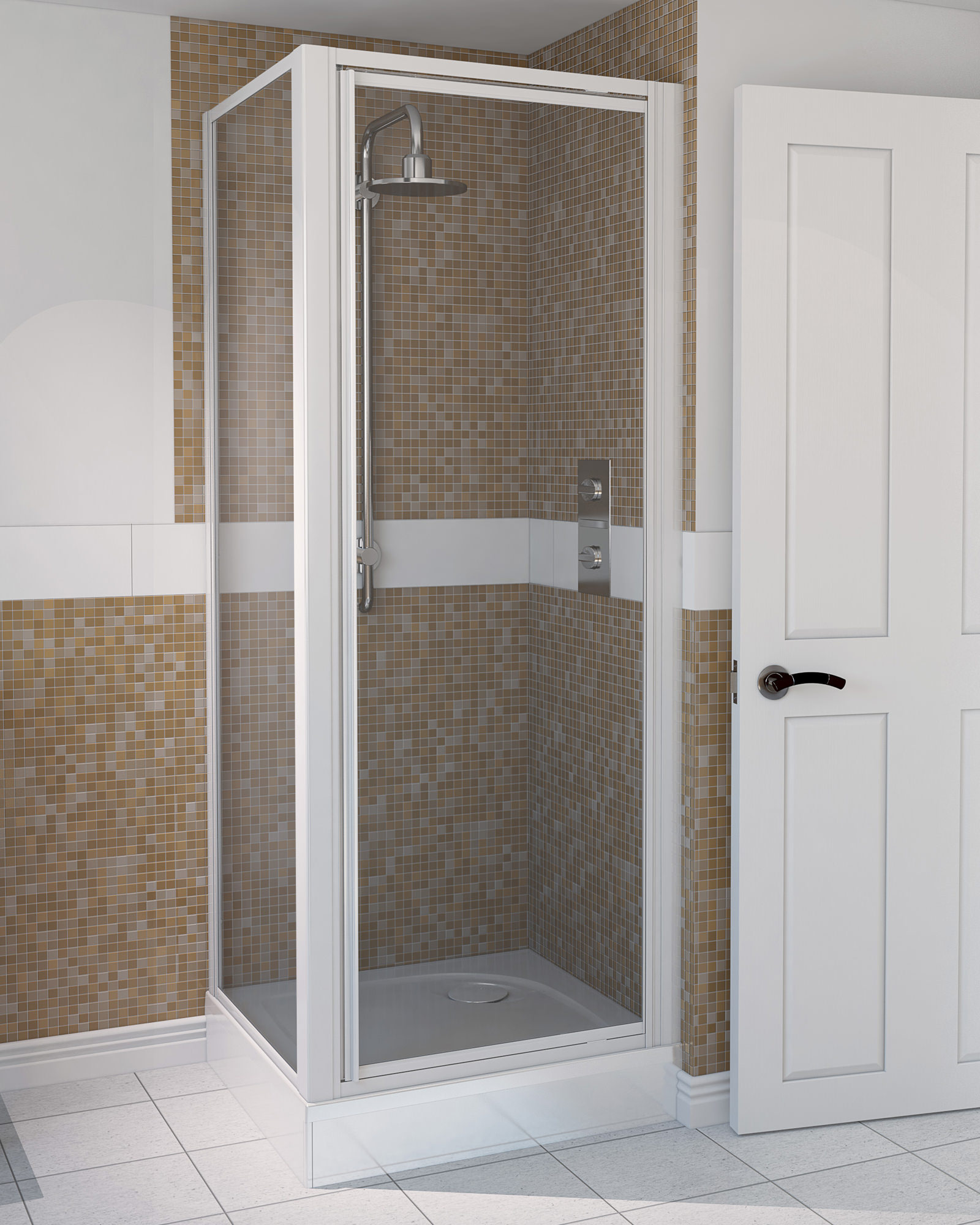 Aqualux Aqua 4 Pivot Shower Door 760mm White 1174005